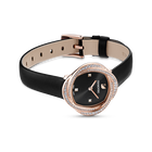 Crystal Flower Watch, Leather strap, Black, Rose-gold tone PVD