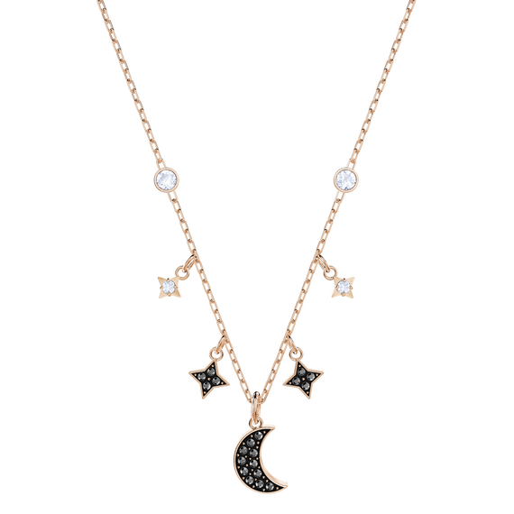 Duo Moon Necklace, Black, Rose Gold Plating