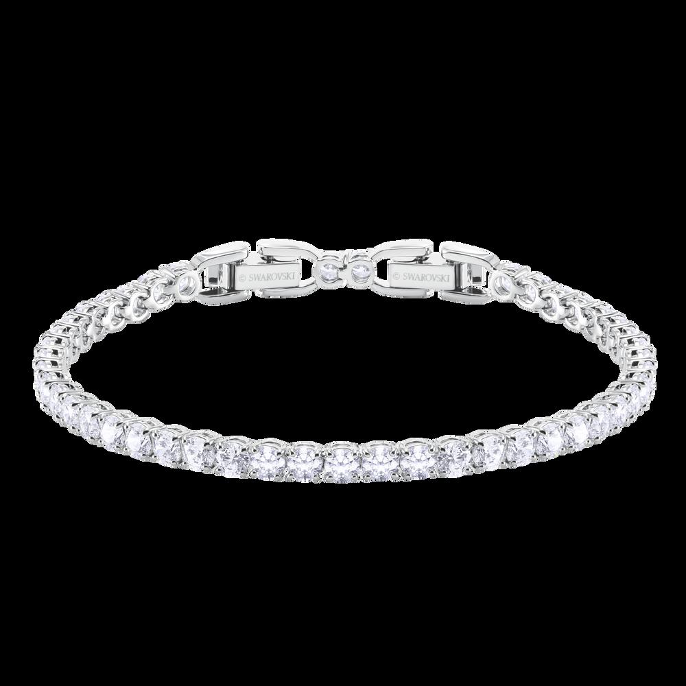 Tennis Round Deluxe Bracelet, White, Rhodium Plating