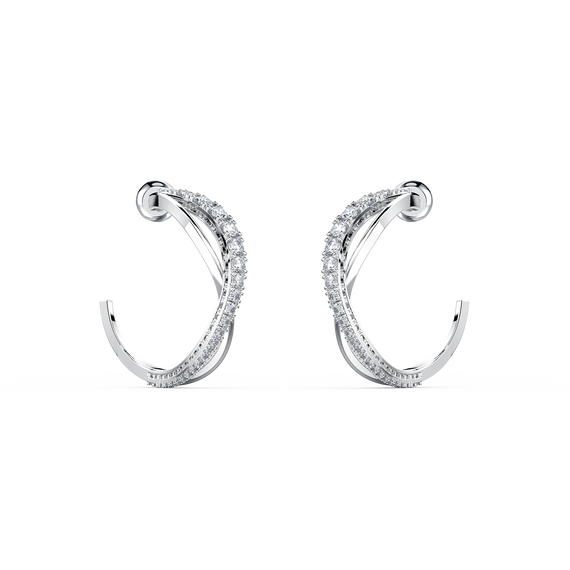 Twist Hoop Pierced Earrings, White, Rhodium plated