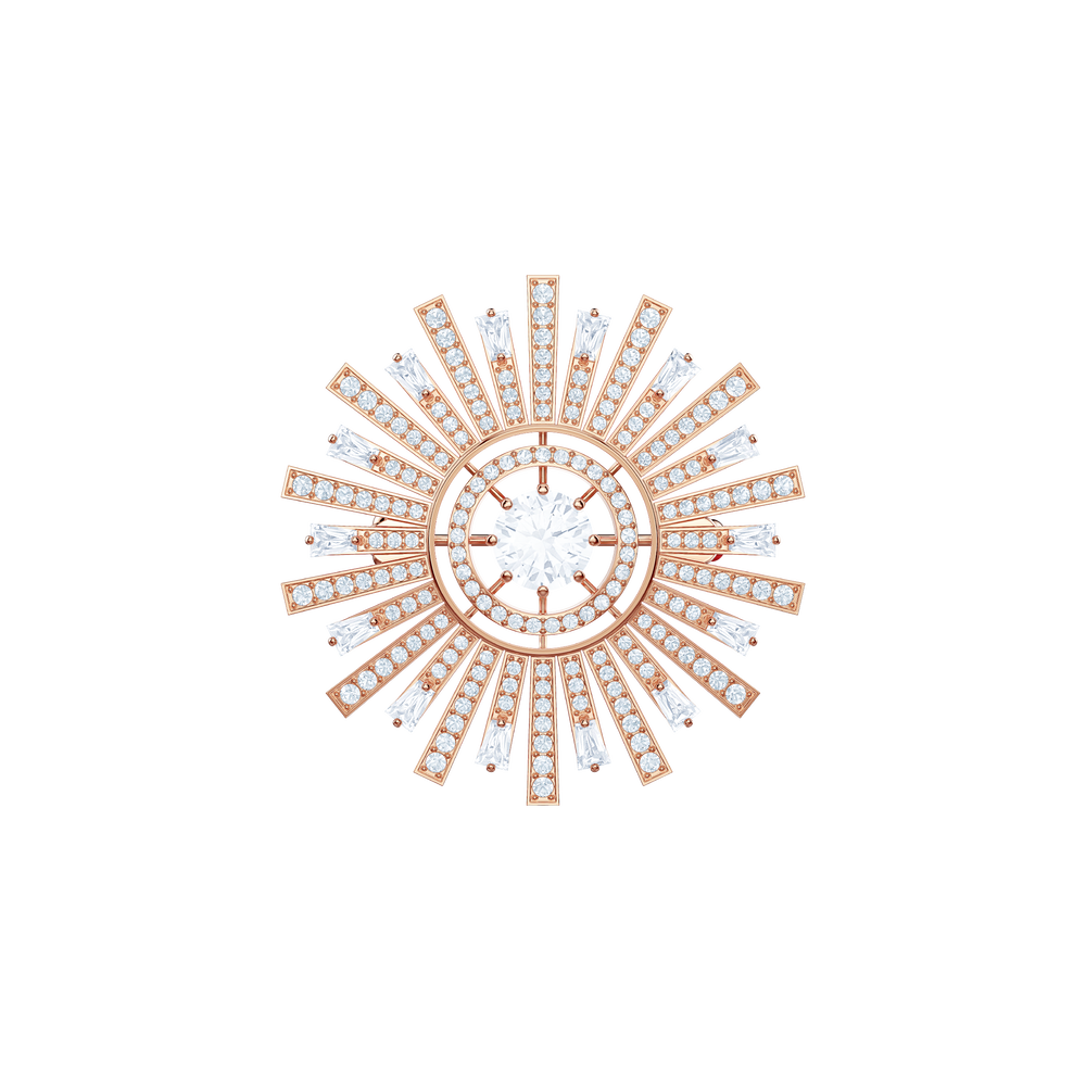 Sunshine Brooch, White, Rose gold plating