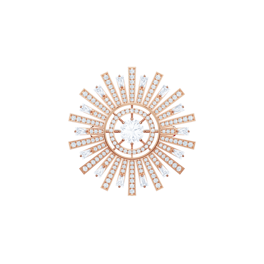 Sunshine Brooch, White, Rose gold plating