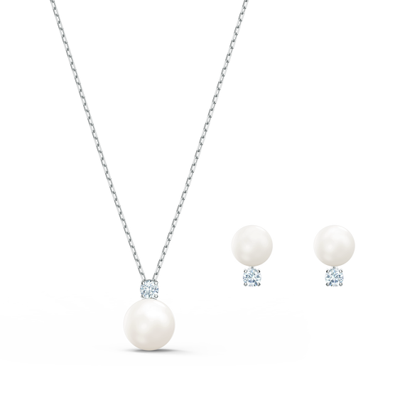 Treasure Pearl Set, White, Rhodium plated