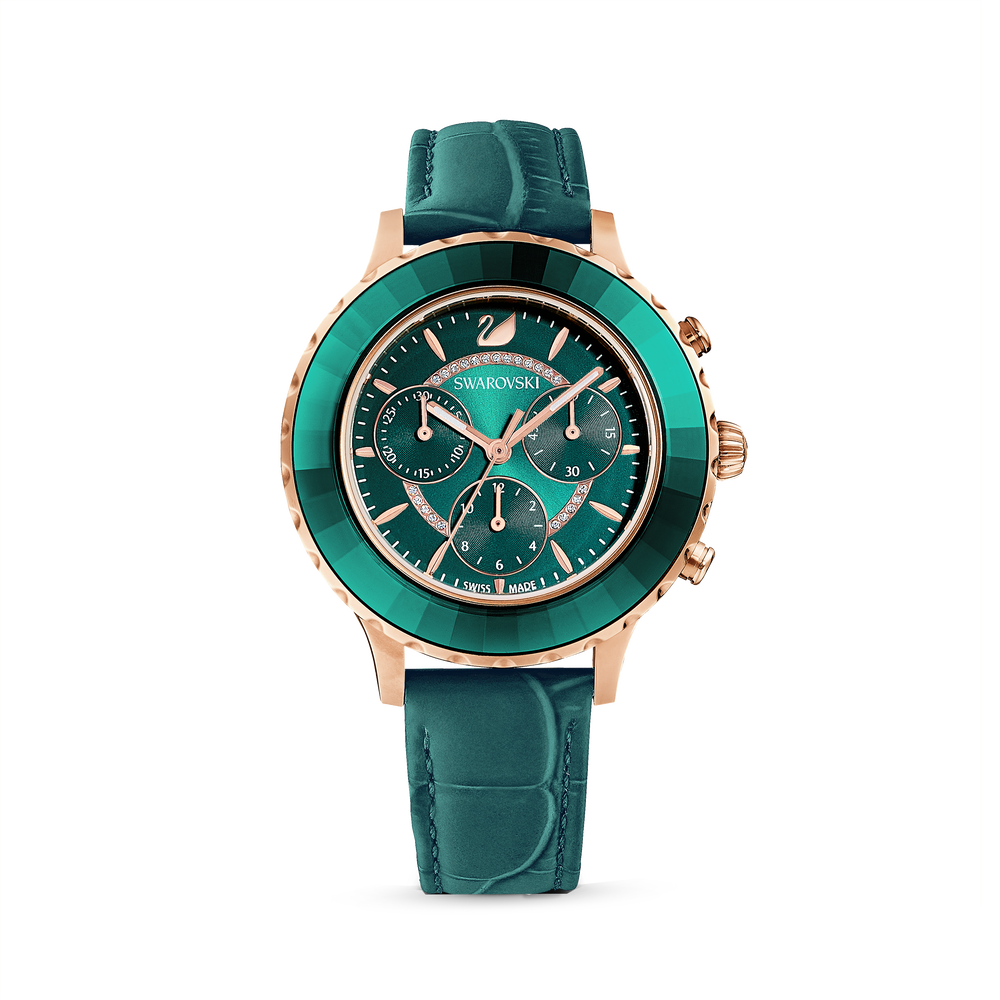 Octea Lux Chrono Watch, Leather Strap, Green, Rose gold tone