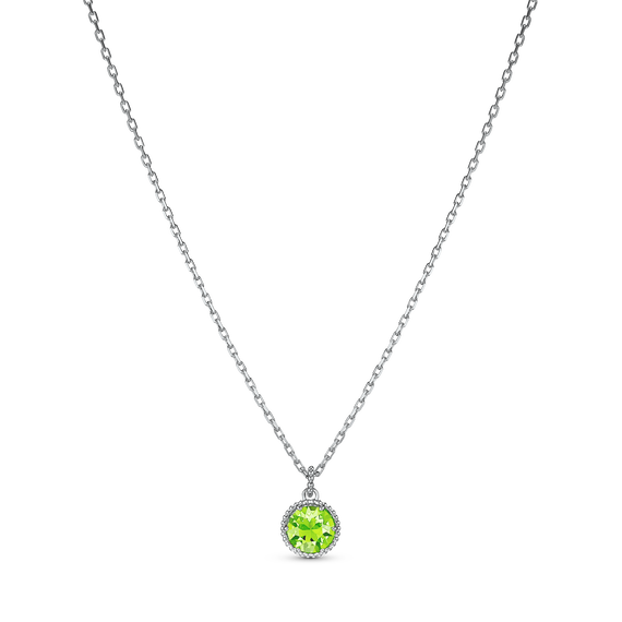 Birthstone Pendant, August, Green, Rhodium plated