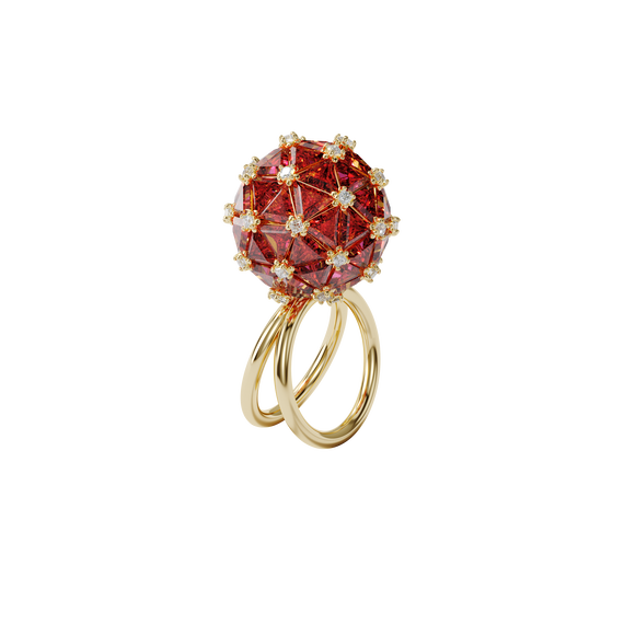 Curiosa cocktail ring, Circle, Orange, Gold-tone plated