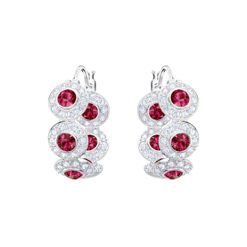 Angelic Hoop Pierced Earrings, Red, Rhodium Plating