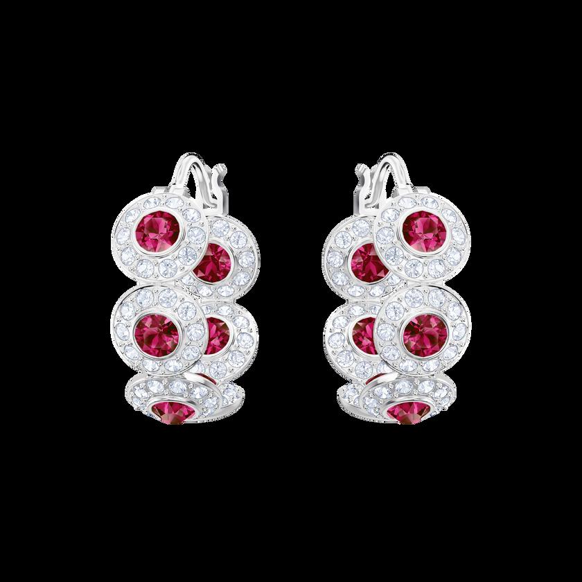 Angelic Hoop Pierced Earrings, Red, Rhodium Plating