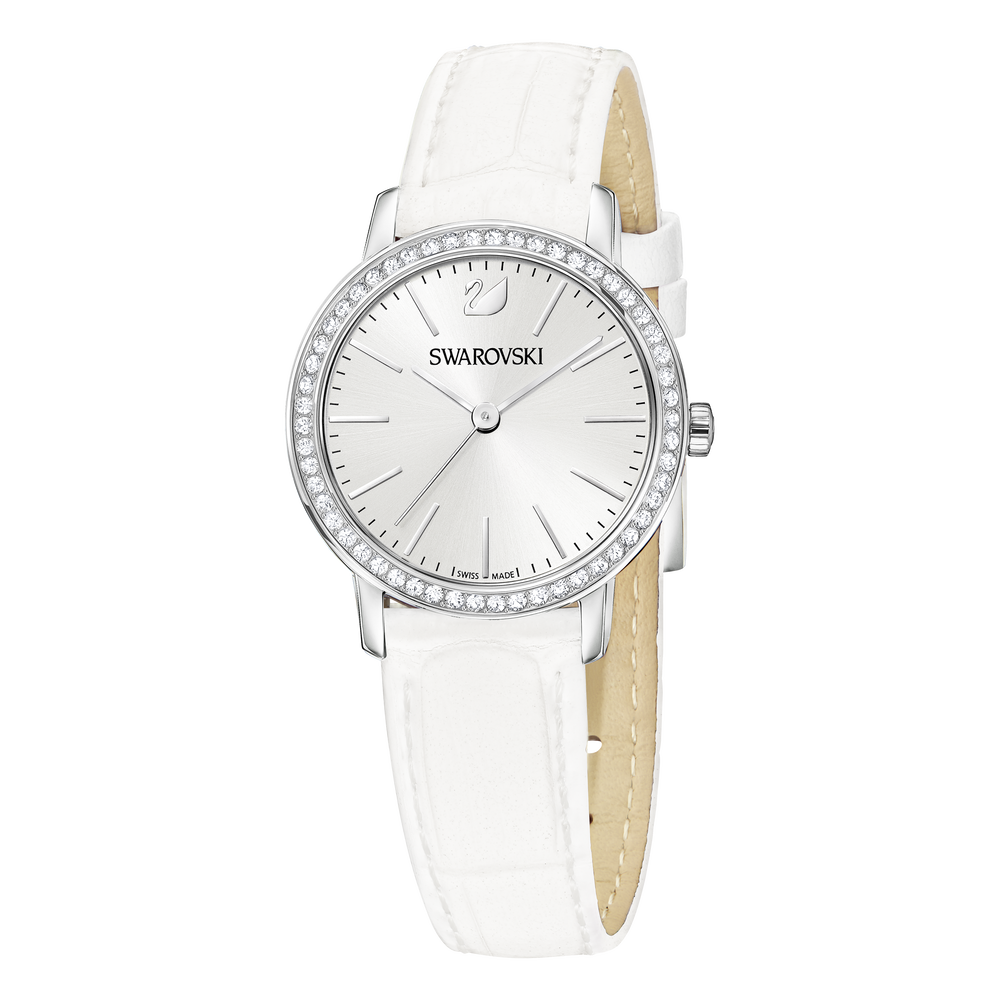 Graceful Mini Watch, Leather strap, White, Stainless steel