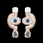 Duo Evil Eye Pierced Earrings, Multi-Colored, Rose Gold Plating