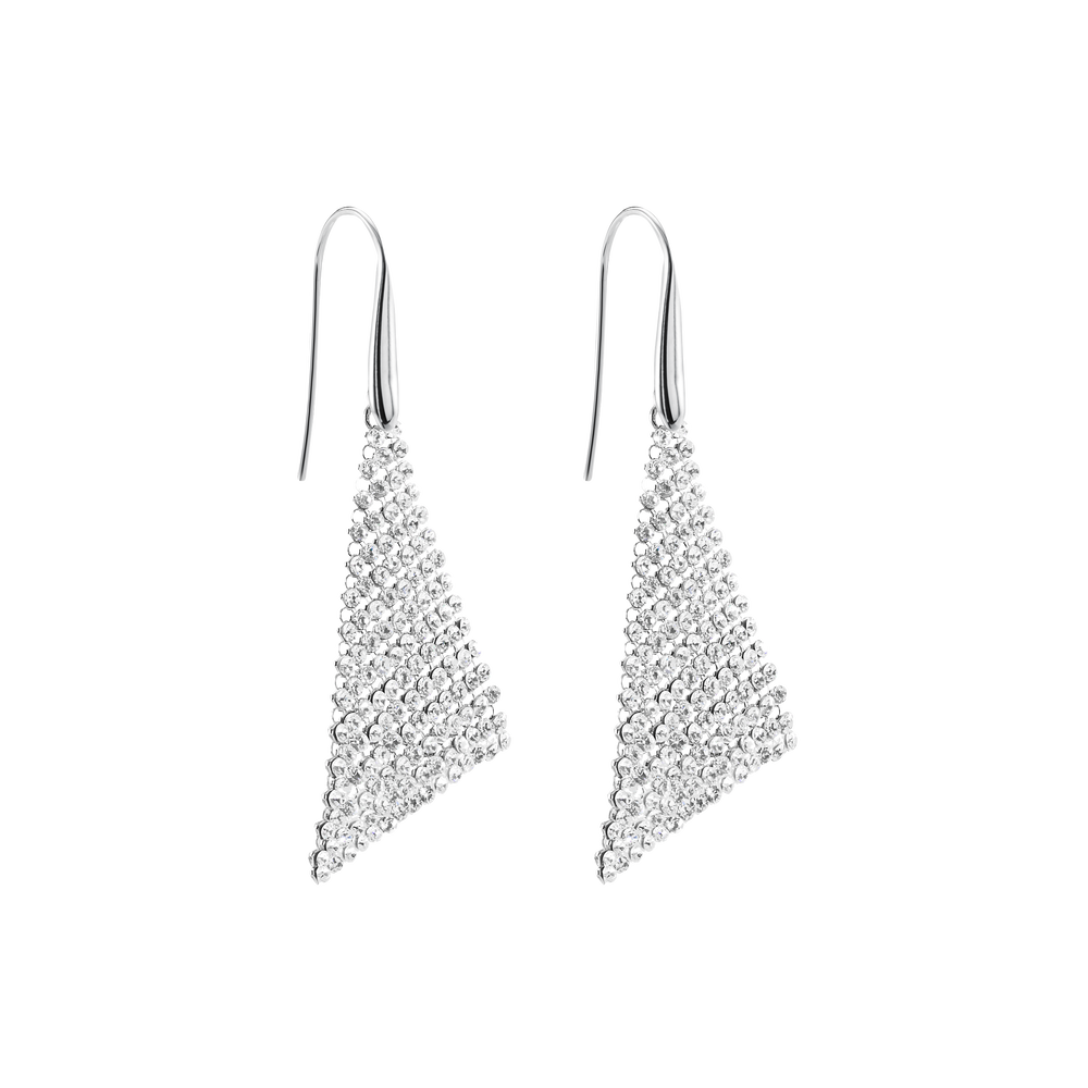 Fit Pierced Earrings, Small, White, Rhodium Plated