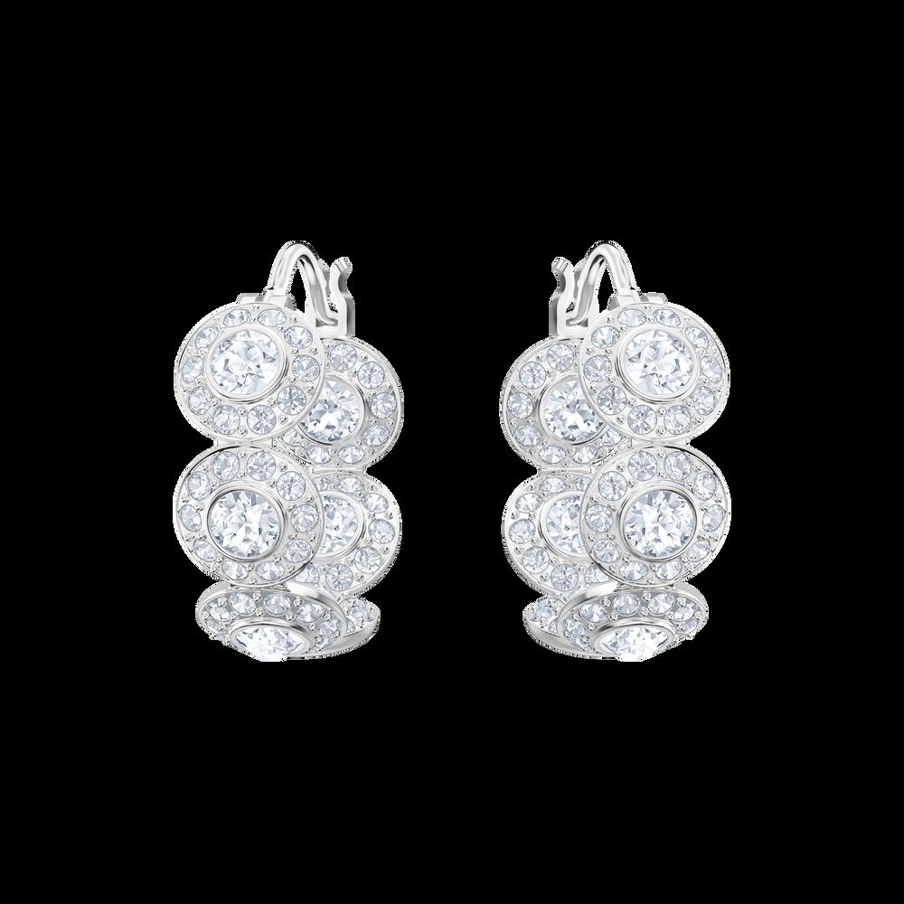 Angelic Hoop Pierced Earrings, White, Rhodium Plating