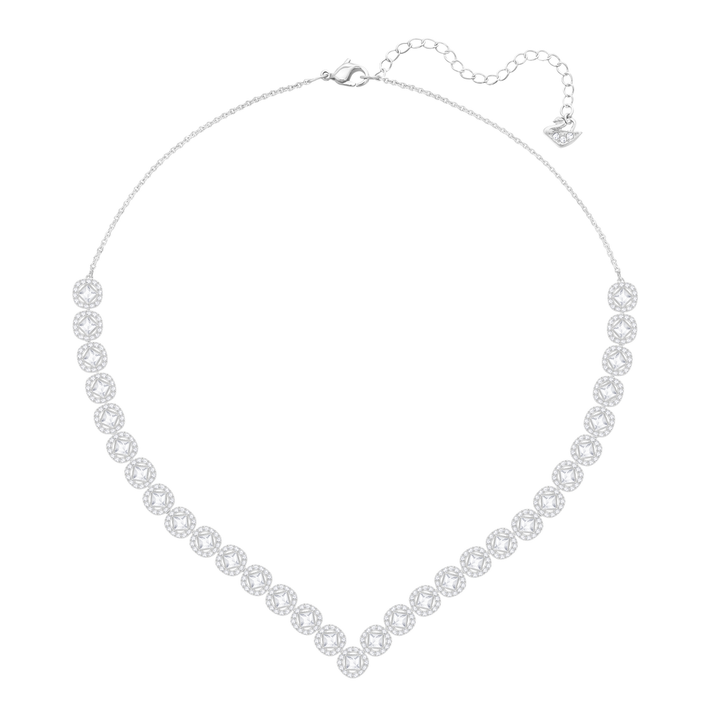 Angelic Square Necklace, Large, White, Rhodium Plated