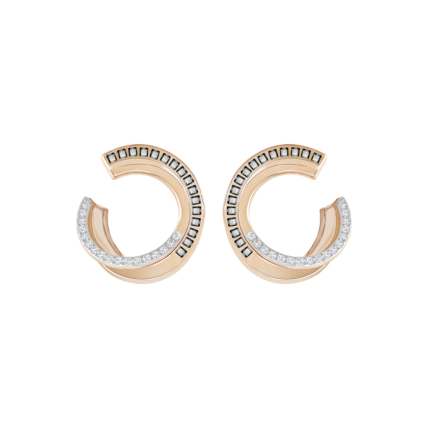 Hero Pierced Earrings, Gray, Rose-gold tone plated