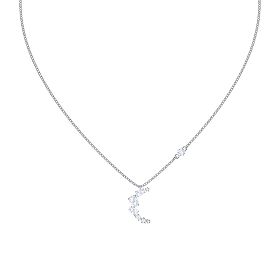 Moonsun Necklace, White, Rhodium plated