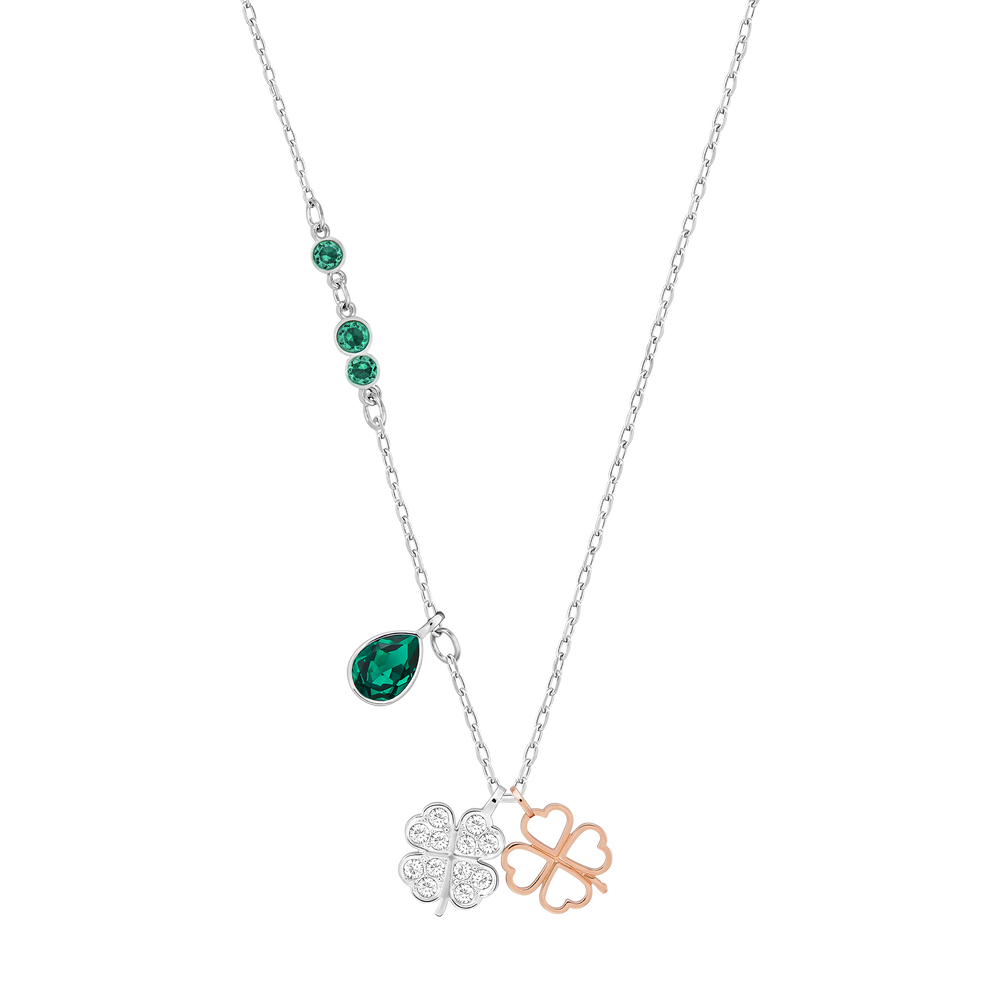Swarovski Symbolic Clover Pendant, Green, Mixed metal finish