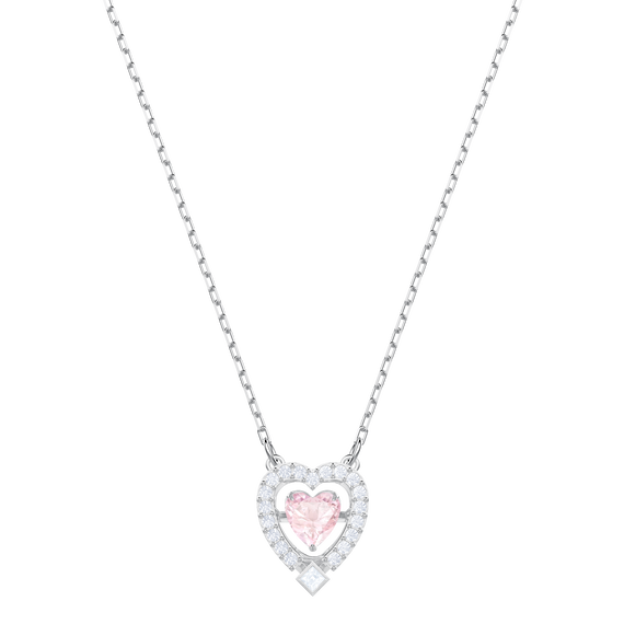 Sparkling Dance Heart Necklace, Pink, Rhodium plating