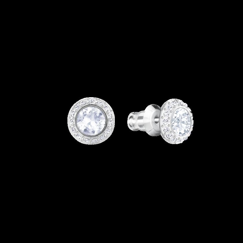 Angelic Pierced Earrings, White, Rhodium Plating