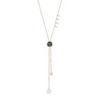 Lucy Round Y Necklace, Black, Rose Gold Plating
