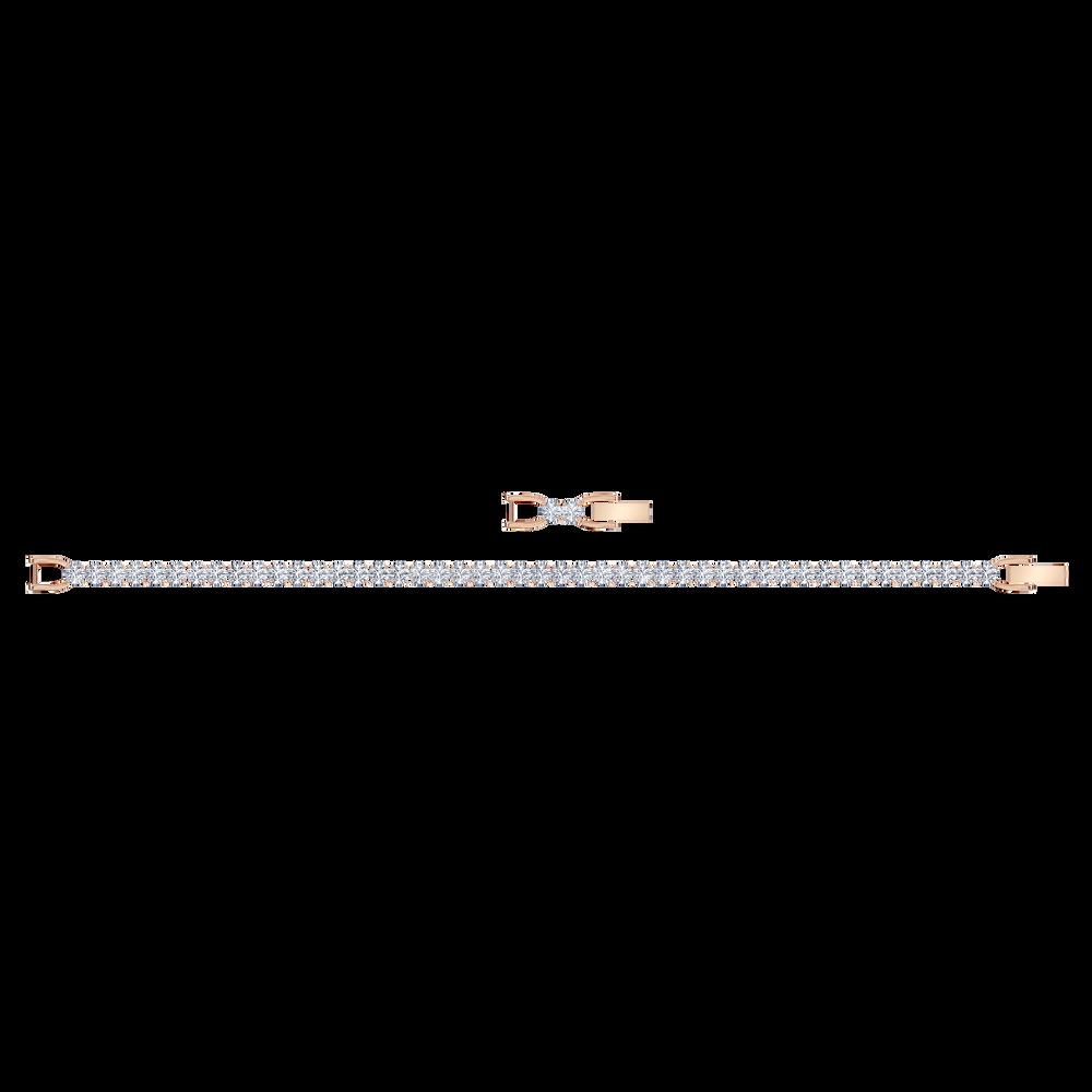 Tennis Deluxe Bracelet, White, Rose-gold tone plated
