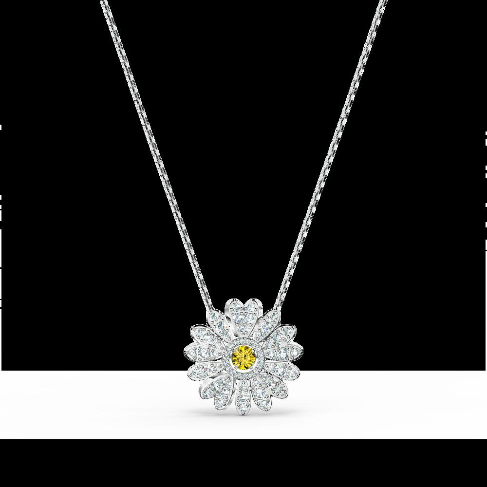 Eternal Flower Pendant, Yellow, Rhodium plated