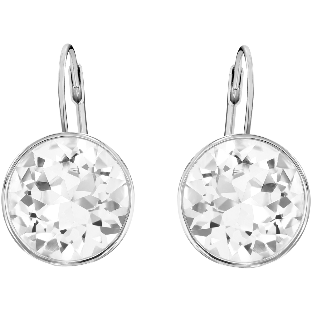 Bella Pierced Earrings, White, Rhodium Plated