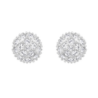 Emma Pierced Earrings, White, Rhodium Plating