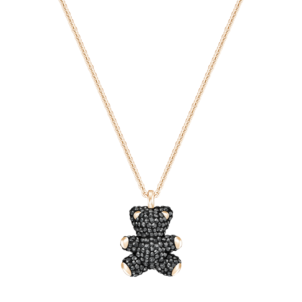 Teddy 3D Pendant, Black, Rose Gold Plated
