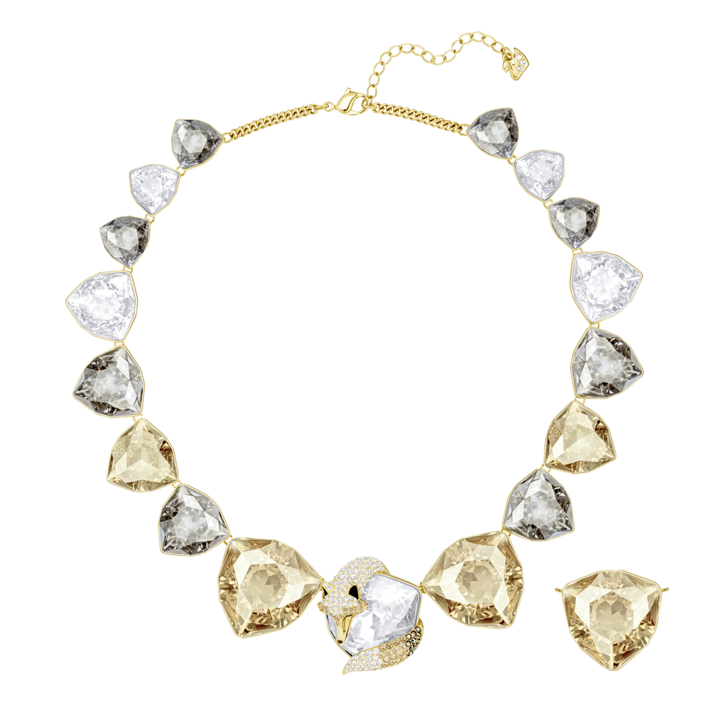 March Fox Necklace, Multi-colored, Gold-tone plated