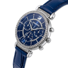 Passage Chrono Watch, Leather strap, Blue, Stainless Steel
