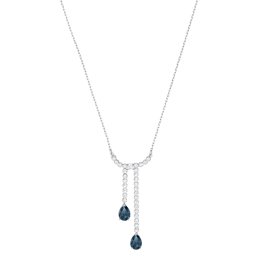 Vintage Y Necklace, White, Rhodium plating