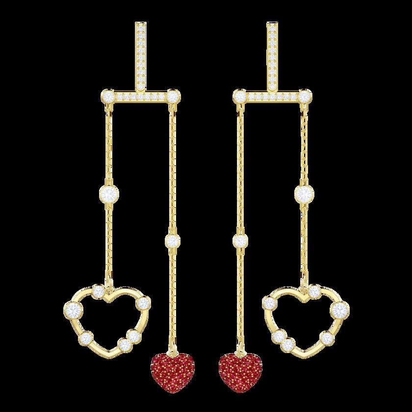 OXO Pierced Earrings Mobile, Red, Gold plating