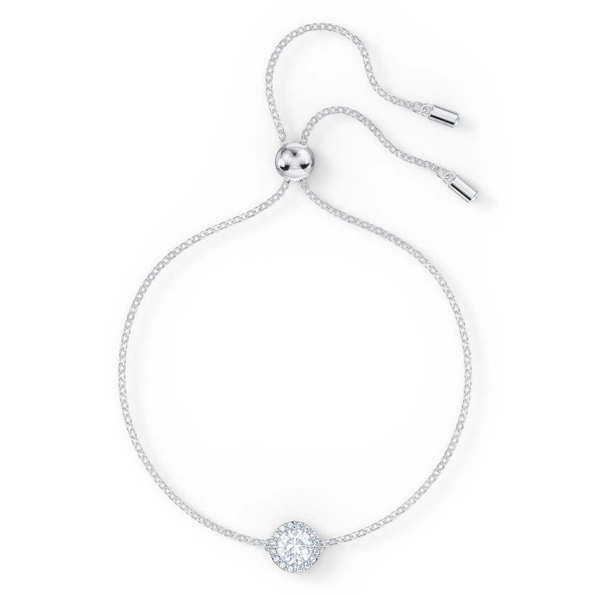 Angelic Round Bracelet, White, Rhodium plated