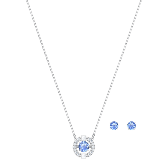 Sparkling Dance Round Set, Blue, Rhodium plating