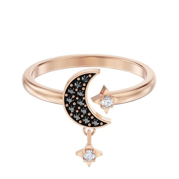 Swarovski Symbolic Moon Motif Ring, Black, Rose-gold tone plated