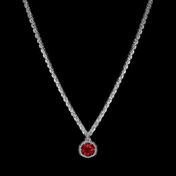Birthstone Pendant, January, Red, Rhodium plated