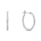 Spirit Hoop Pierced Earrings, Aqua, Rhodium plated