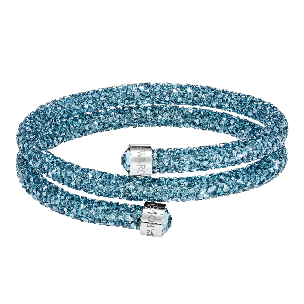 Crystaldust Double Bangle, Aqua, Stainless steel