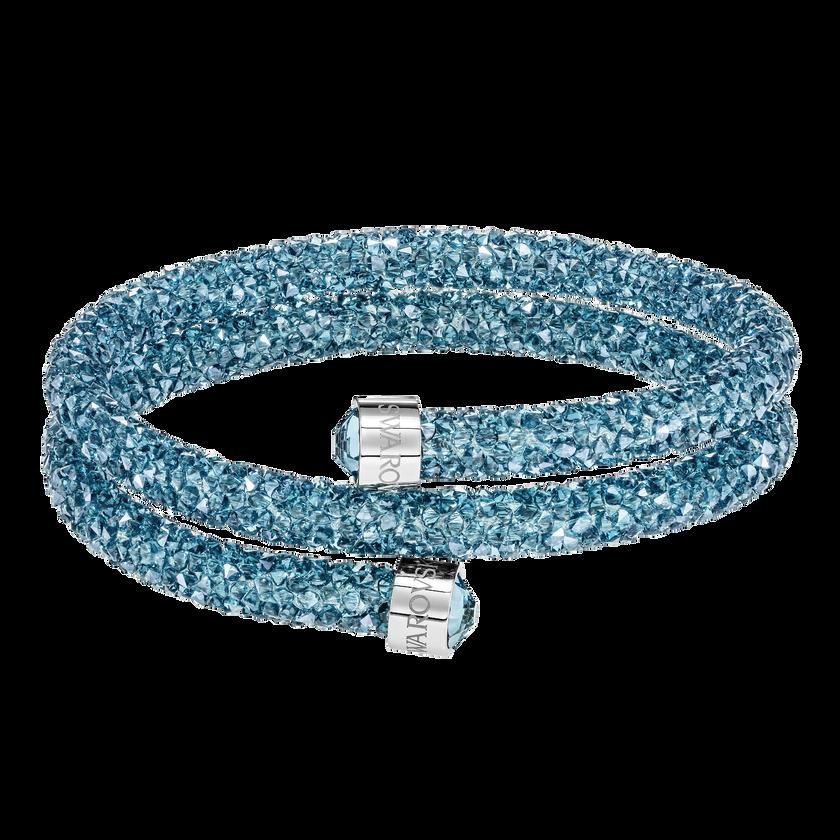 Crystaldust Double Bangle, Aqua, Stainless steel