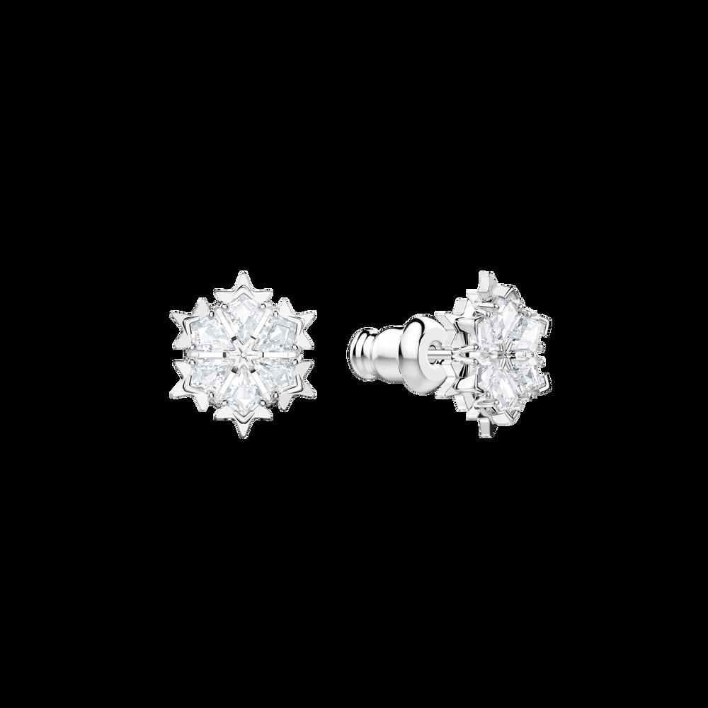 Magic Pierced Earrings, White, Rhodium Plating