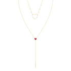 OXO Necklace, Red, Gold plating