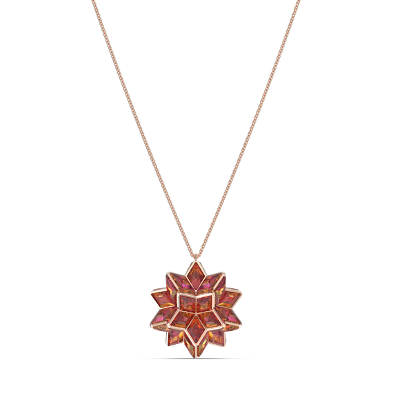 Curiosa pendant, Geometric crystals, Pink, Rose-gold tone plated