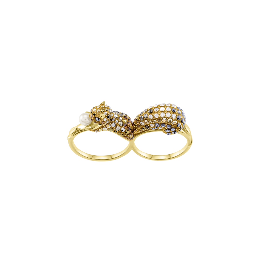 March Squirrel Double Motif Ring, Multi-Colored, Gold Plating