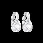 Bella V Pierced Earrings, White, Rhodium Plated