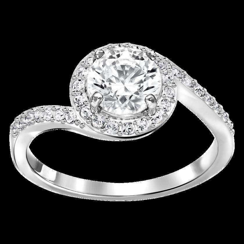Attract Swirl Ring, White, Rhodium plating