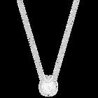 Bella V Pendant, White, Rhodium plated