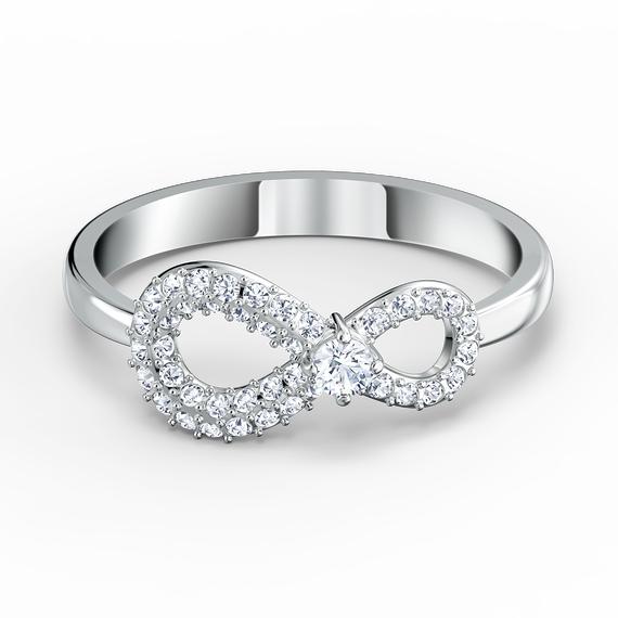 Swarovski Infinity Ring, White, Rhodium plated