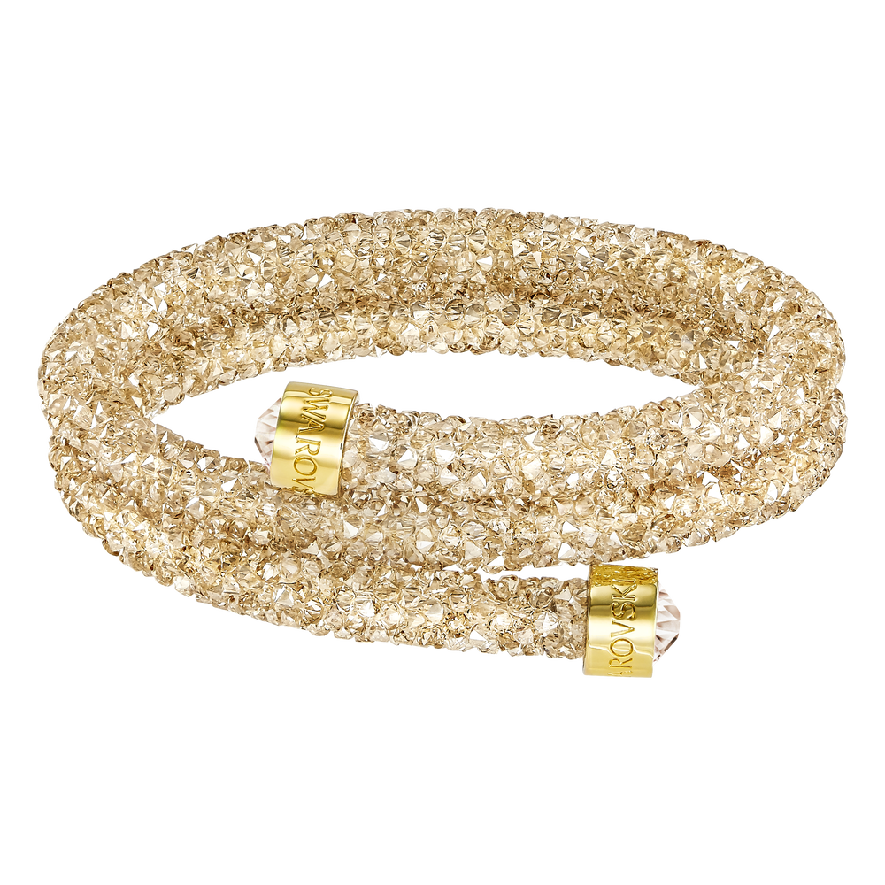 Crystaldust Double Bangle, Golden, Gold-tone plated