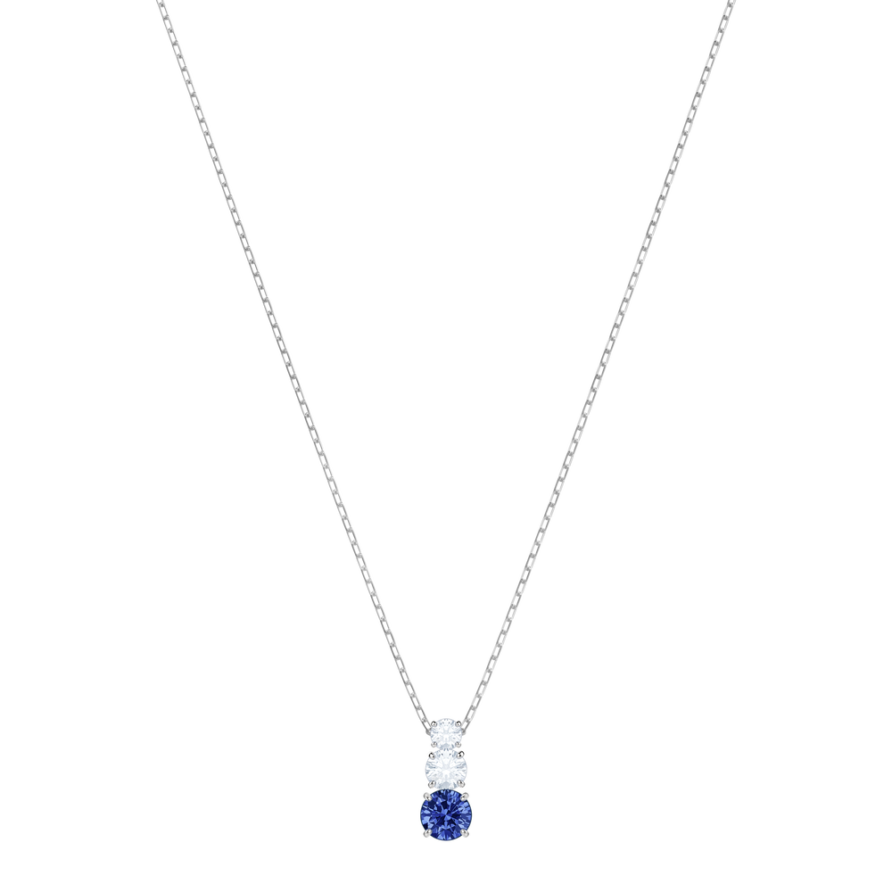 Attract Trilogy Round Pendant, Blue, Rhodium Plating