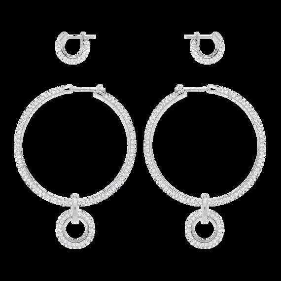 Stone Pierced Earring Set, White, Rhodium Plating